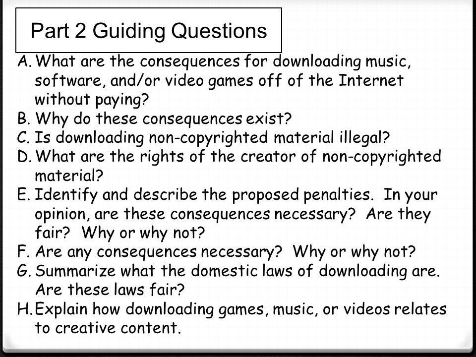 Part 2 Guiding Questions