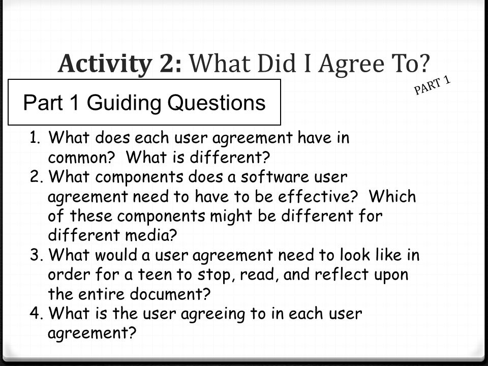 Activity 2: What Did I Agree To