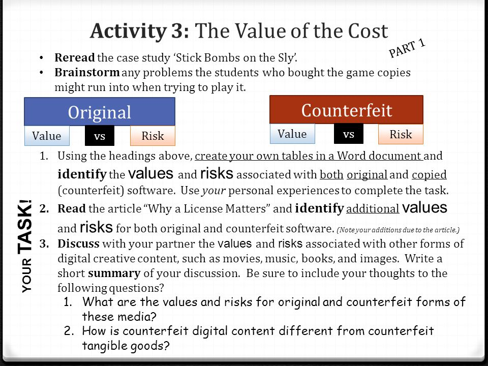 Activity 3: The Value of the Cost