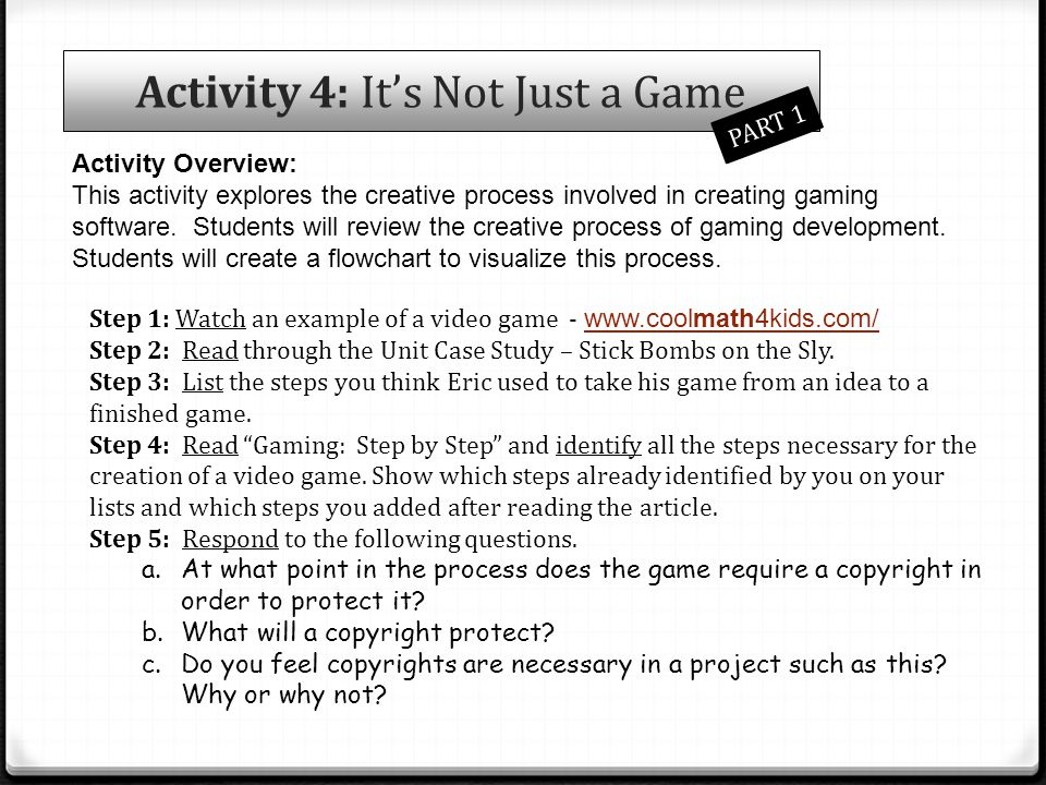 Activity 4: It's Not Just a Game