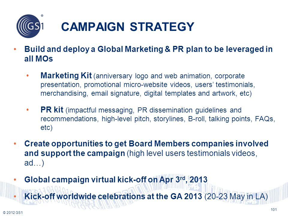 CAMPAIGN STRATEGY Build and deploy a Global Marketing & PR plan to be leveraged in all MOs.