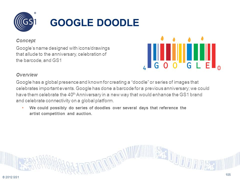 GOOGLE DOODLE Concept. Google's name designed with icons/drawings that allude to the anniversary, celebration of the barcode, and GS1.