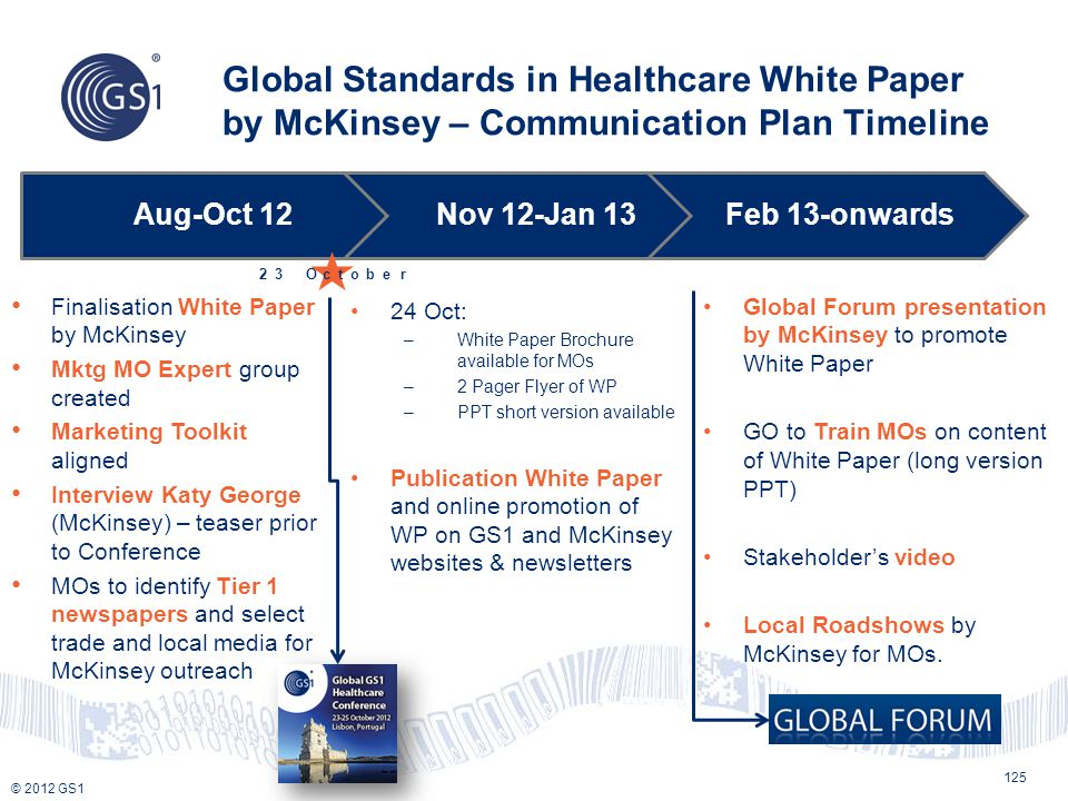 Global Standards in Healthcare White Paper by McKinsey – Communication Plan Timeline