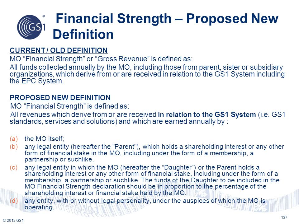 Financial Strength – Proposed New Definition