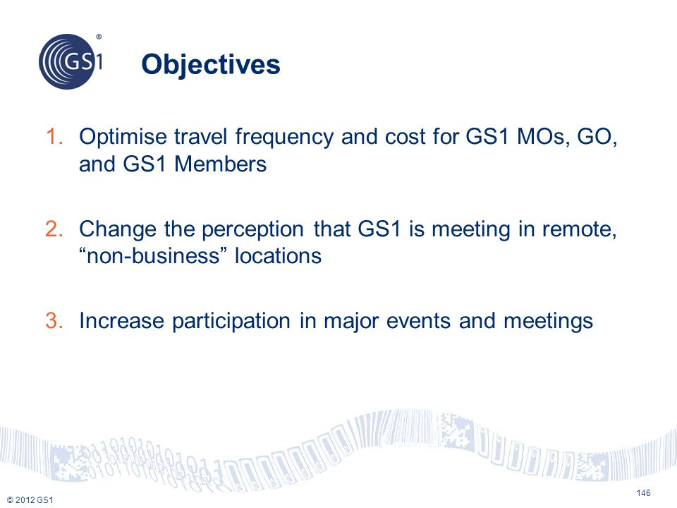 Objectives Optimise travel frequency and cost for GS1 MOs, GO, and GS1 Members.
