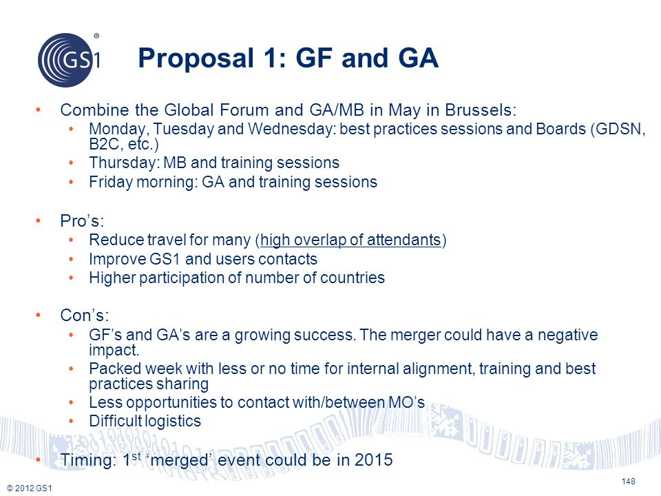 Proposal 1: GF and GA Combine the Global Forum and GA/MB in May in Brussels: