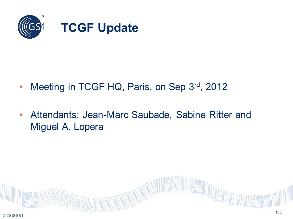 TCGF Update Meeting in TCGF HQ, Paris, on Sep 3rd, 2012
