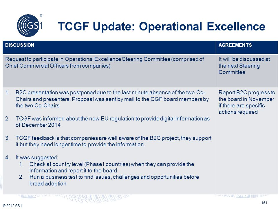 TCGF Update: Operational Excellence