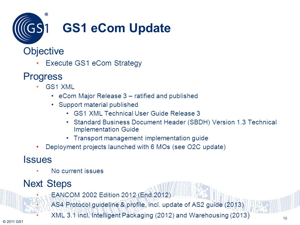 GS1 eCom Update Objective Progress Issues Next Steps