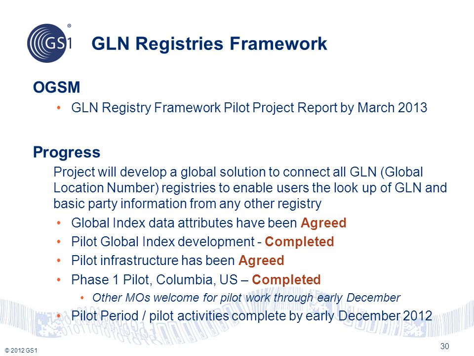 GLN Registries Framework