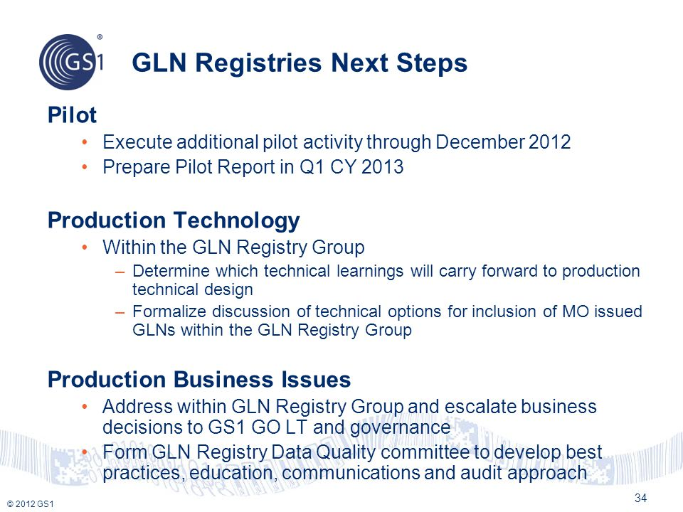 GLN Registries Next Steps