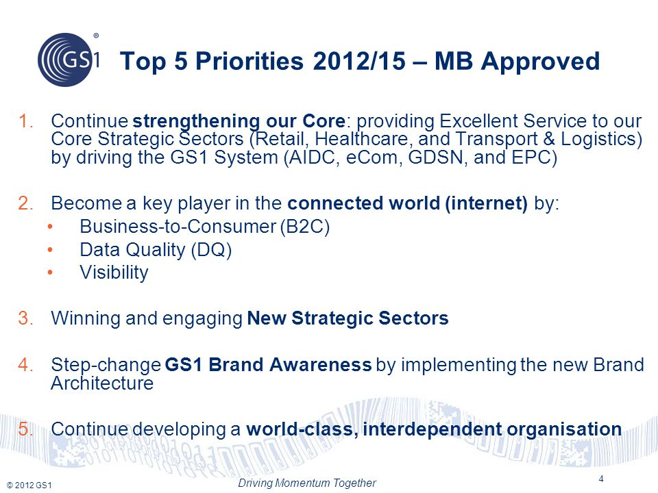 Top 5 Priorities 2012/15 – MB Approved