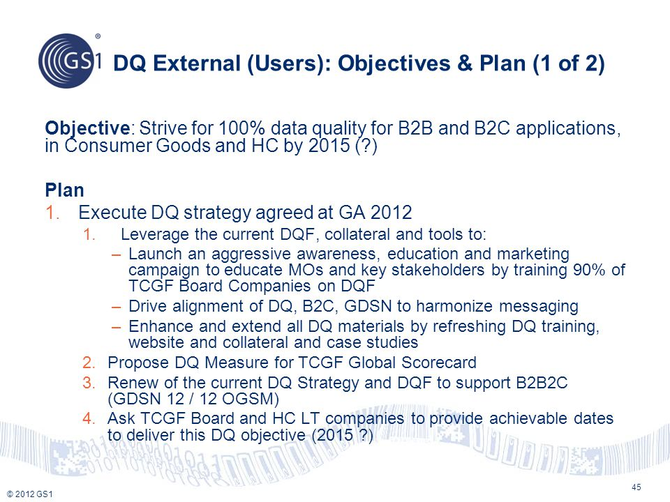 DQ External (Users): Objectives & Plan (1 of 2)
