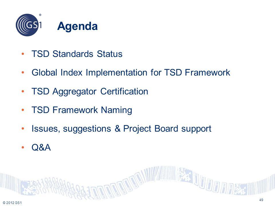 Agenda TSD Standards Status
