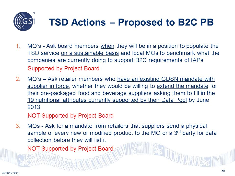 TSD Actions – Proposed to B2C PB