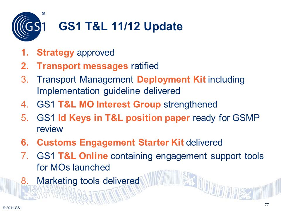GS1 T&L 11/12 Update Strategy approved Transport messages ratified
