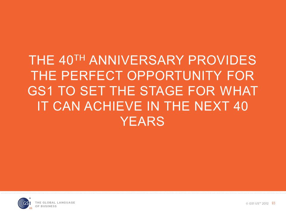 The 40th Anniversary provides the perfect opportunity for gs1 to set the stage for what it can achieve in the next 40 years