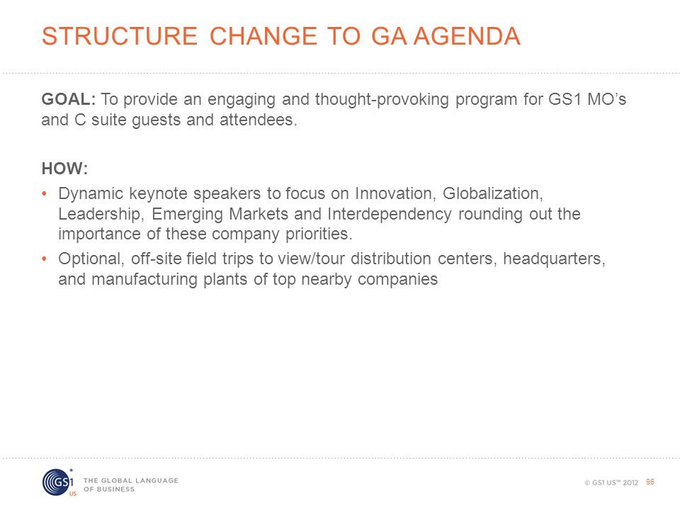Structure Change to GA Agenda