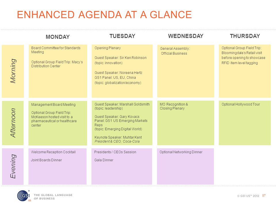 Enhanced Agenda at a glance