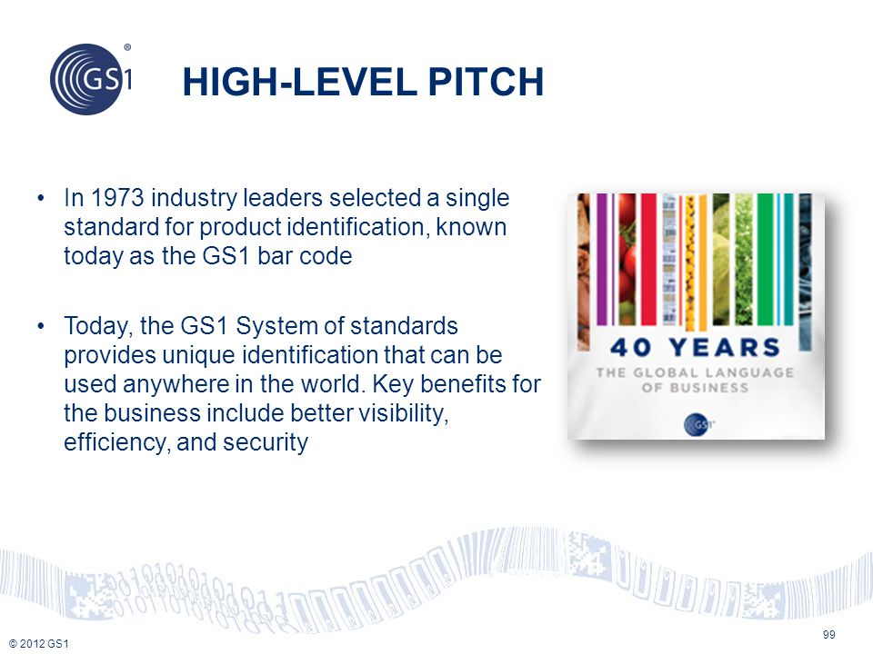 HIGH-LEVEL PITCH In 1973 industry leaders selected a single standard for product identification, known today as the GS1 bar code.