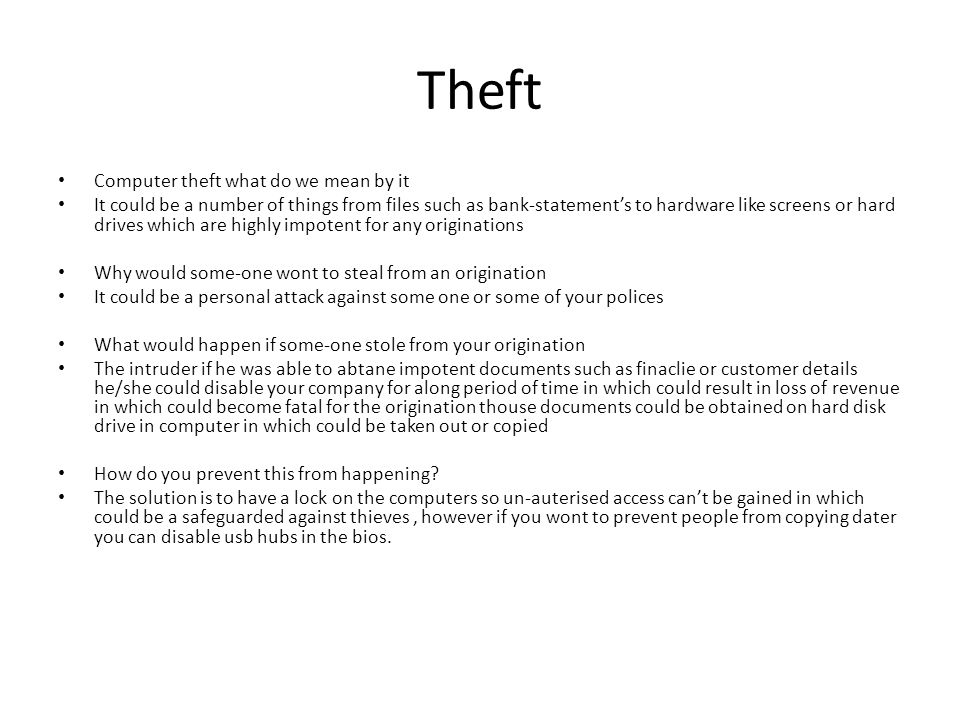 Theft Computer theft what do we mean by it