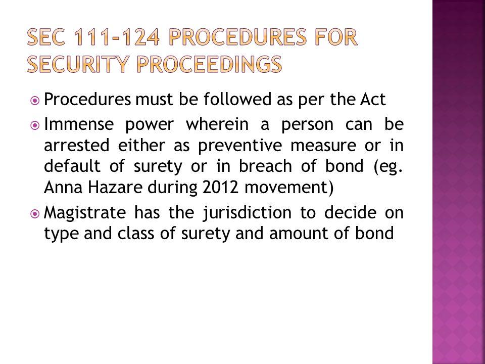 Sec 111-124 procedures for security proceedings