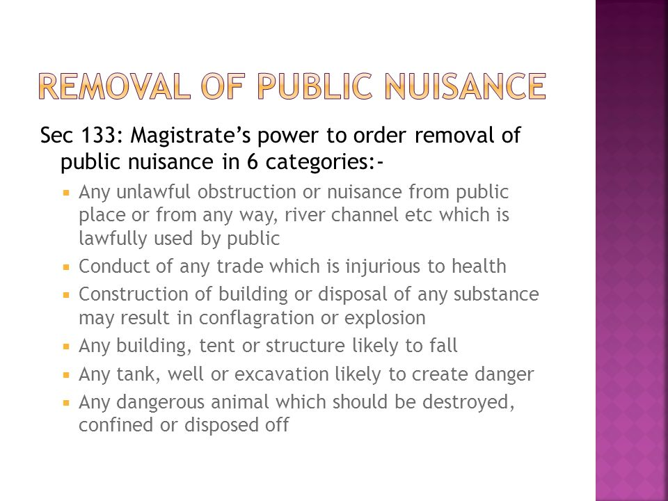 Removal of public nuisance