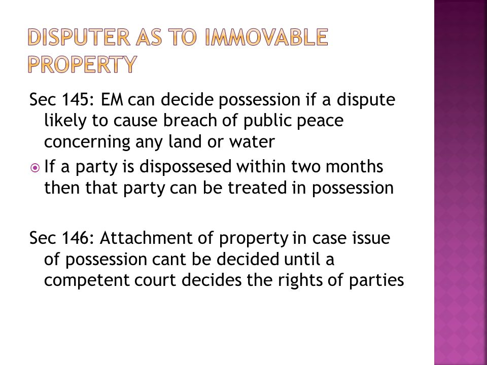 Disputer as to immovable property