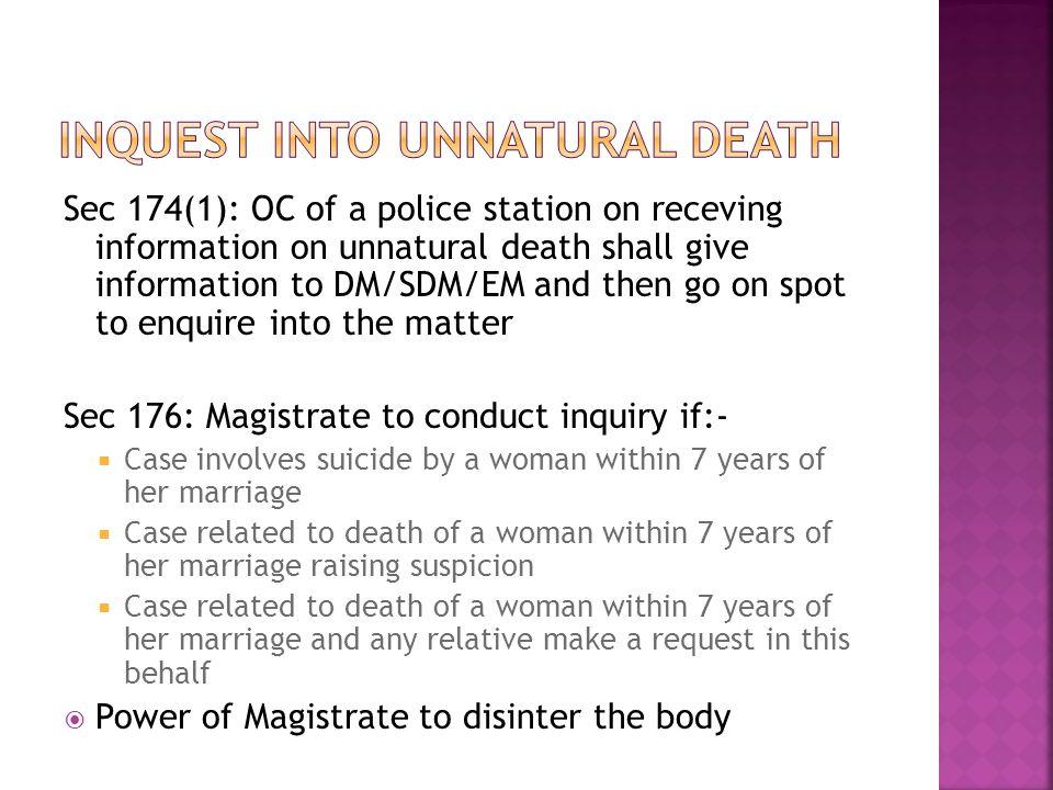 Inquest into unnatural death