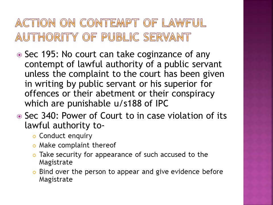 Action on contempt of lawful authority of public servant