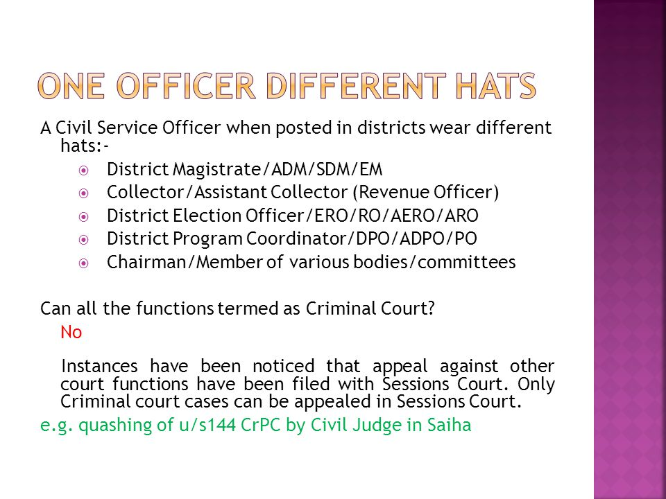 ONE OFFICER DIFFERENT HATS