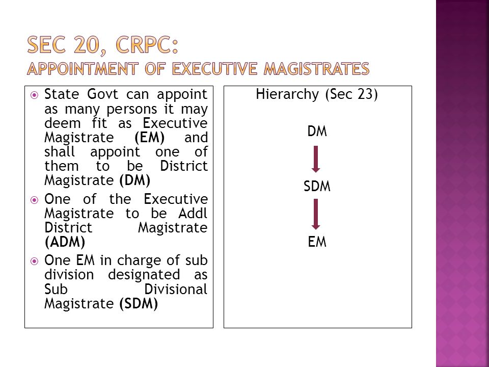 Sec 20, CrPC: Appointment of Executive Magistrates