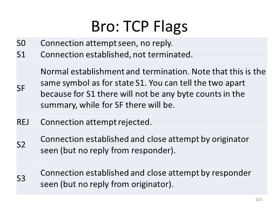 Bro: TCP Flags S0 Connection attempt seen, no reply. S1