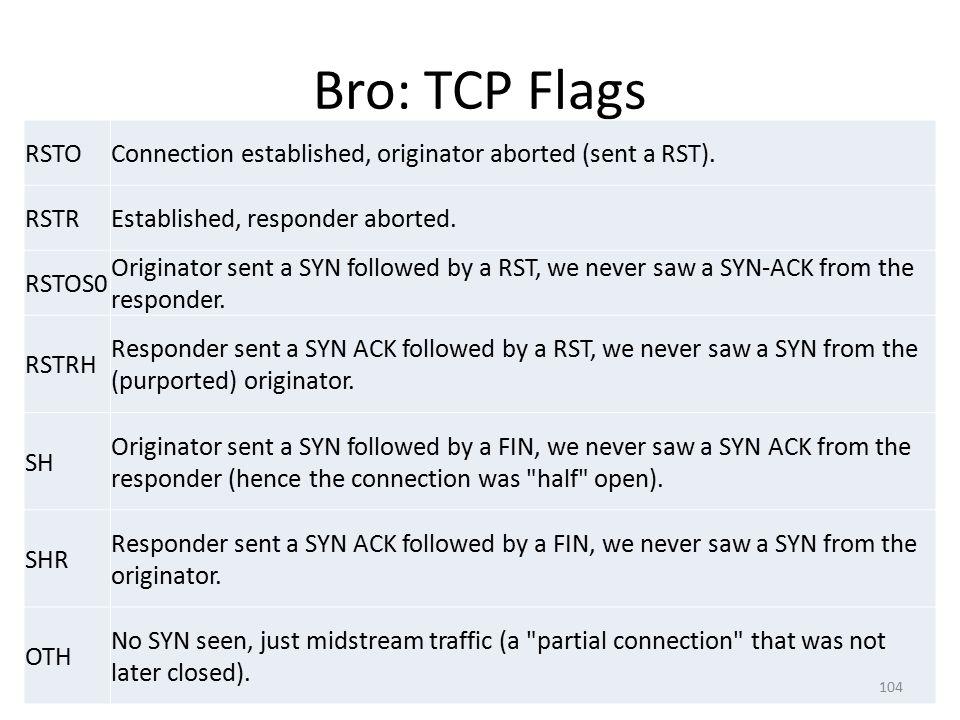 Bro: TCP Flags RSTO. Connection established, originator aborted (sent a RST). RSTR. Established, responder aborted.