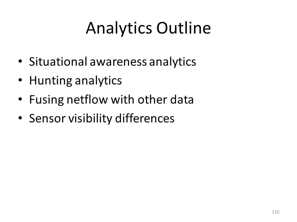 Analytics Outline Situational awareness analytics Hunting analytics