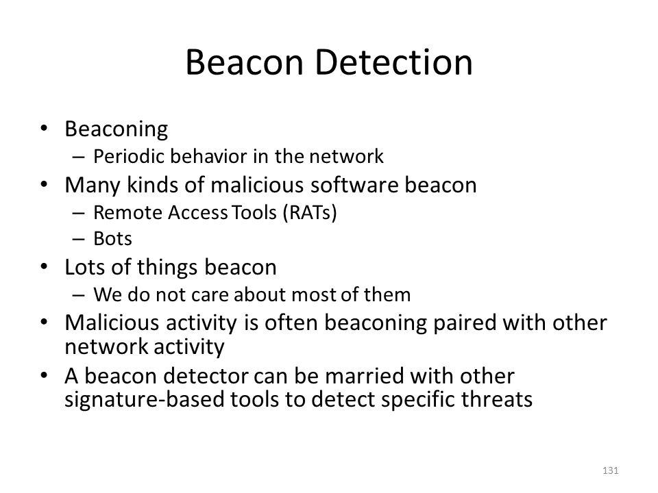 Beacon Detection Beaconing Many kinds of malicious software beacon