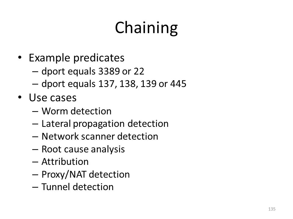 Chaining Example predicates Use cases dport equals 3389 or 22