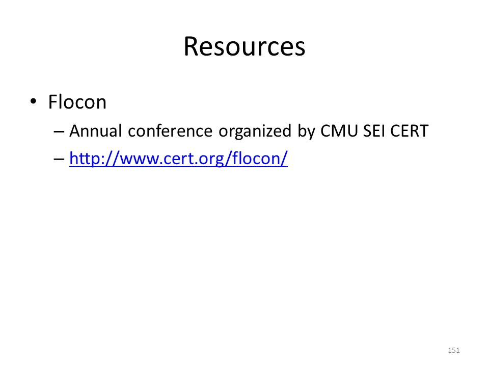 Resources Flocon Annual conference organized by CMU SEI CERT