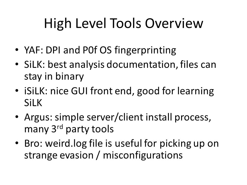 High Level Tools Overview
