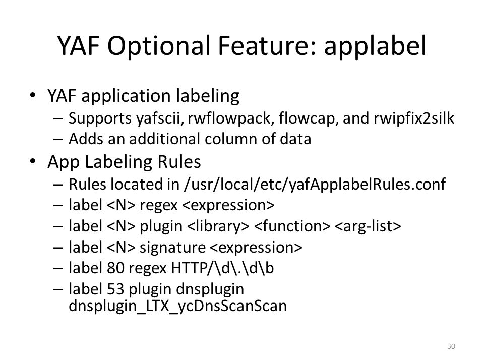 YAF Optional Feature: applabel