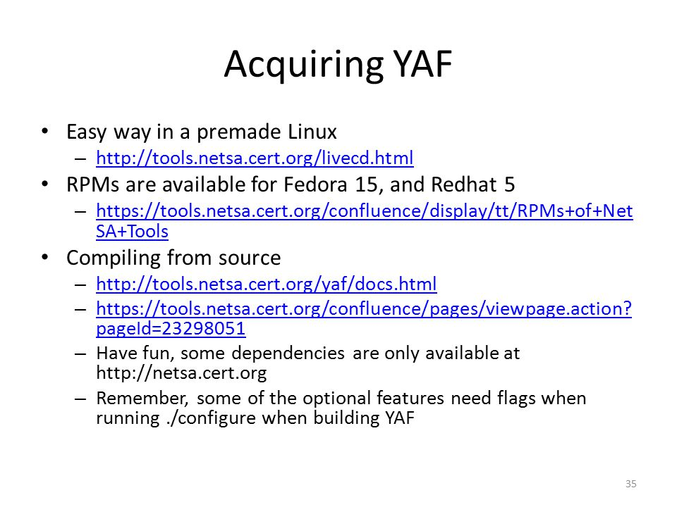 Acquiring YAF Easy way in a premade Linux