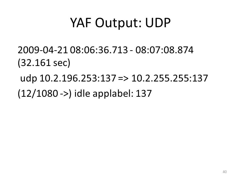 YAF Output: UDP 2009-04-21 08:06:36.713 - 08:07:08.874 (32.161 sec)