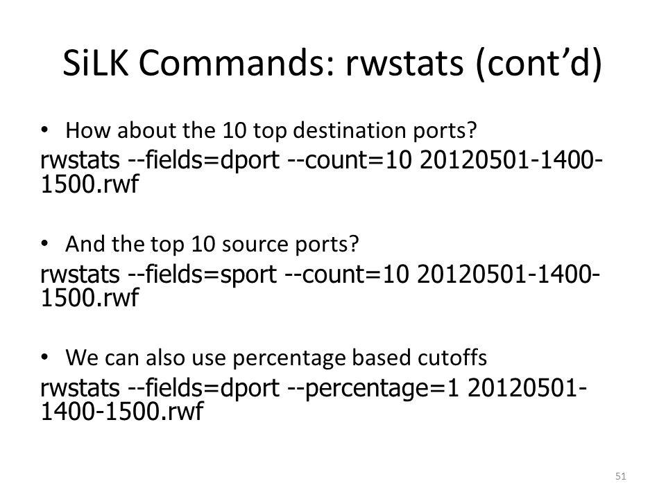 SiLK Commands: rwstats (cont'd)