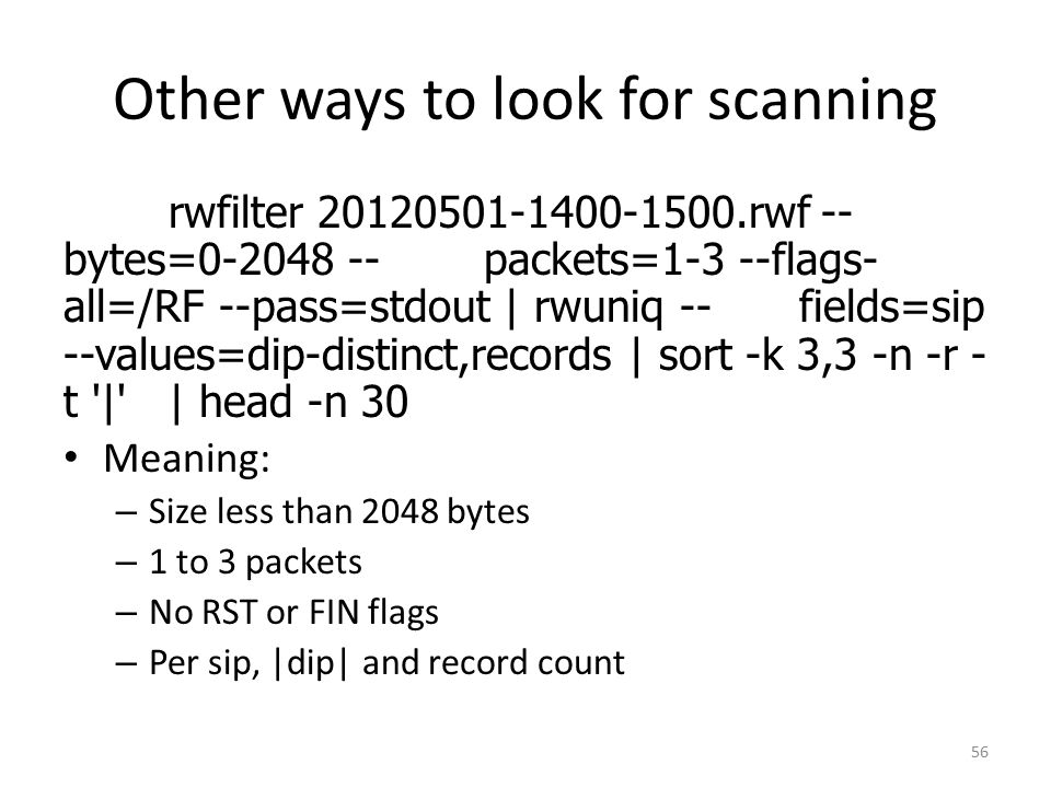 Other ways to look for scanning