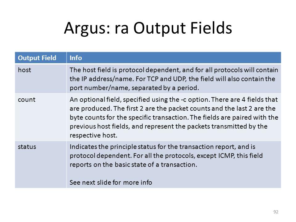 Argus: ra Output Fields