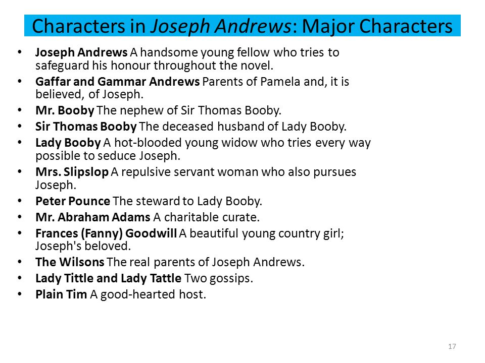 Characters in Joseph Andrews: Major Characters