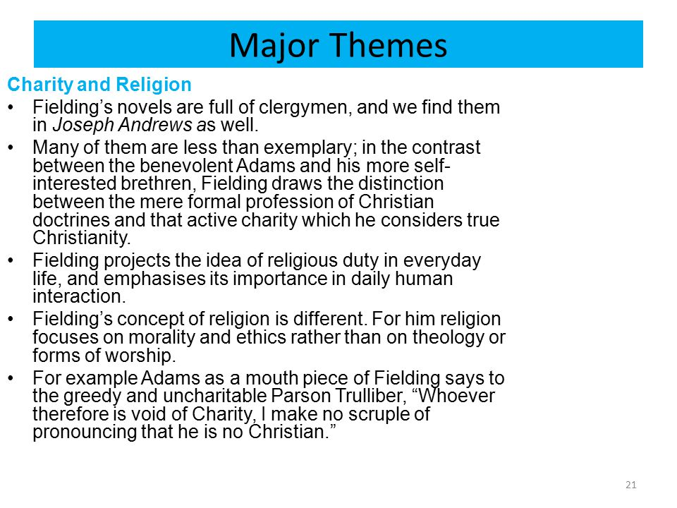 Major Themes Charity and Religion