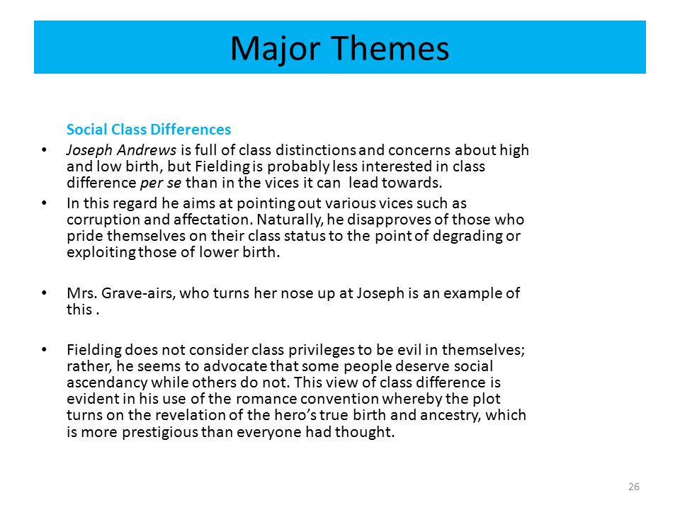 Major Themes Social Class Differences