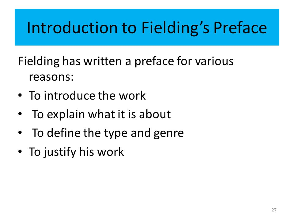 Introduction to Fielding's Preface