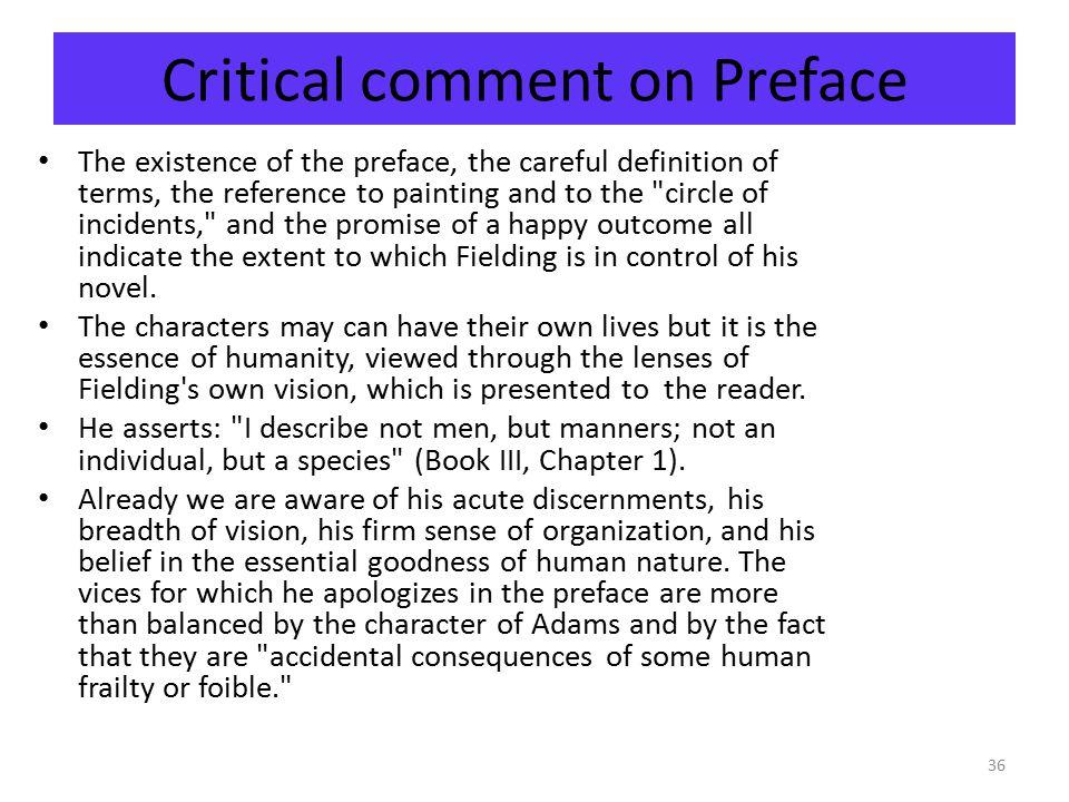 Critical comment on Preface
